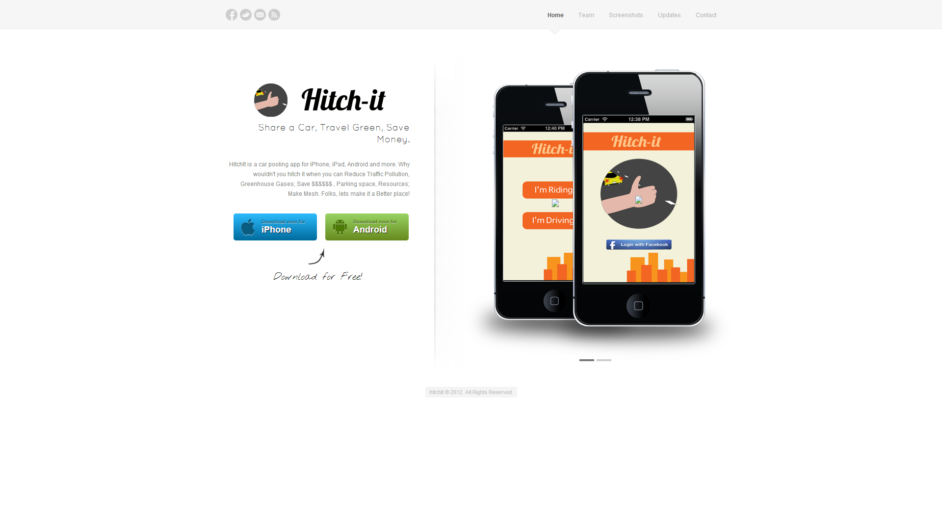 Website Design for HitchItNow a Mobile App Idea