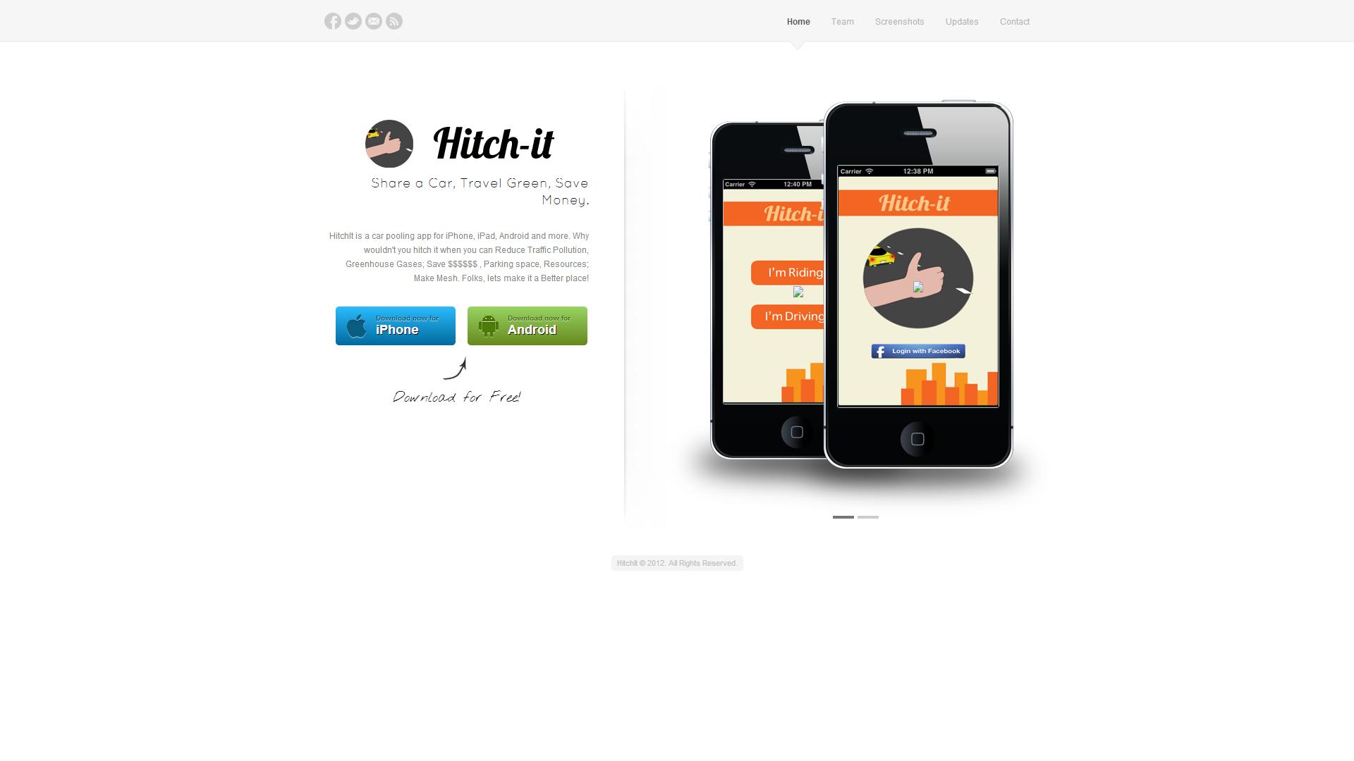 Website Design for HitchItNow a Mobile App Idea