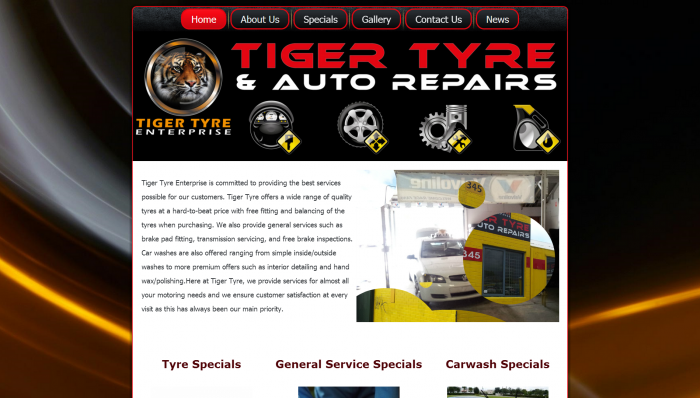 Tiger Tyres & Auto Repairs website Design