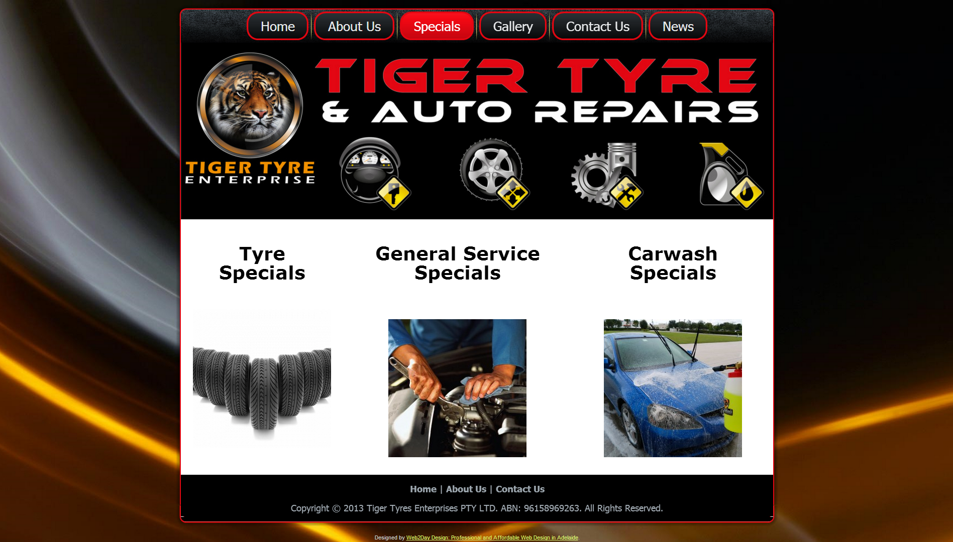 Webdesign for Tiger Tyre & Auto Repairs
