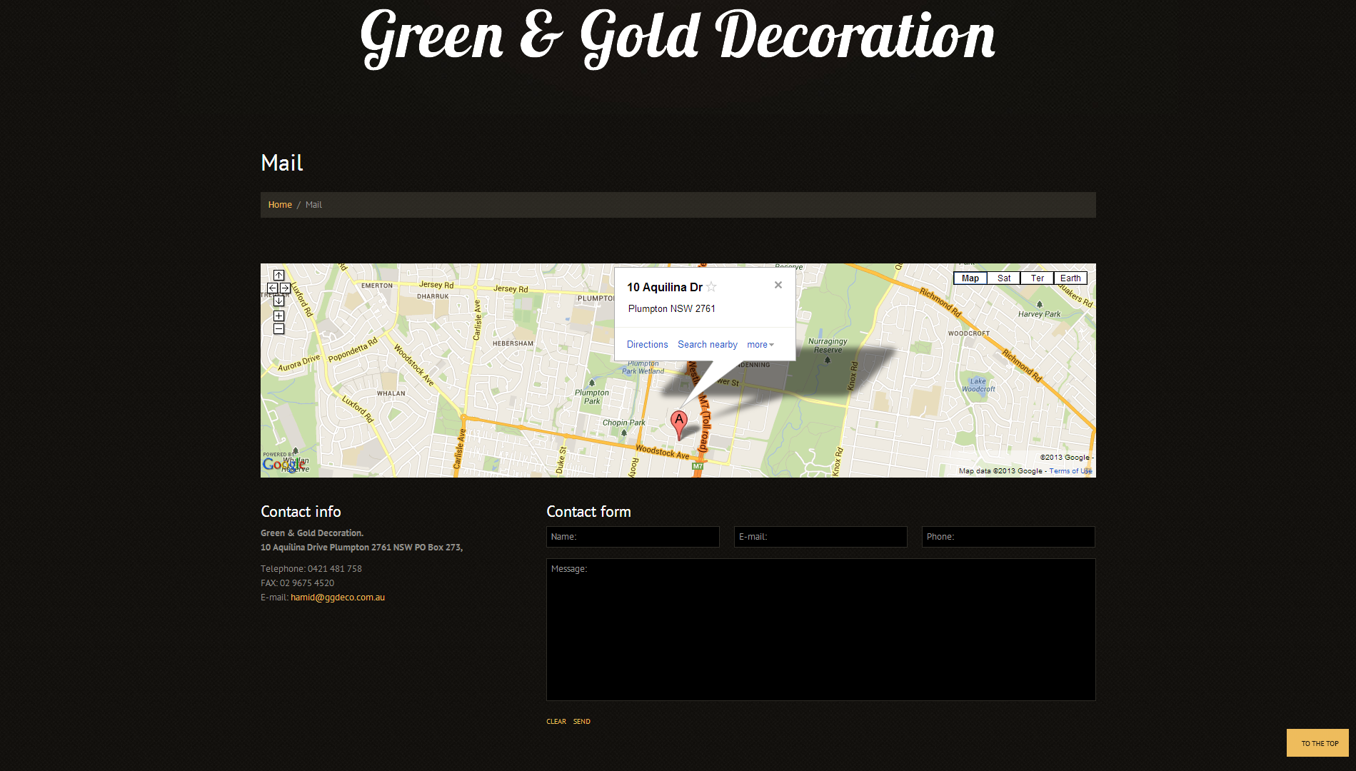 Green and Gold Decoration Website Design