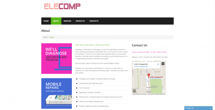 elecomp webdesign - about page