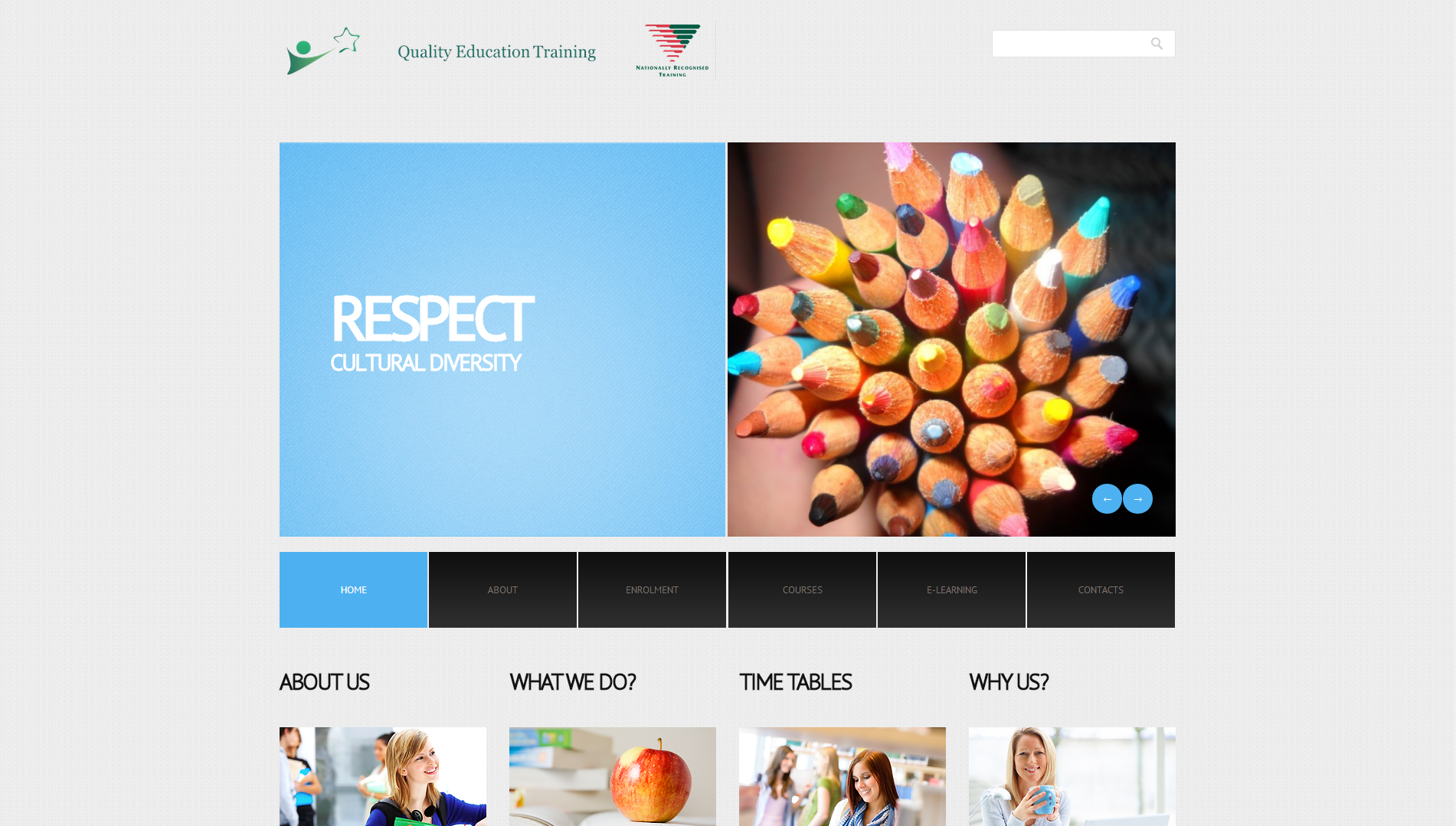 Quality Education Training Home Page. Web2day Design